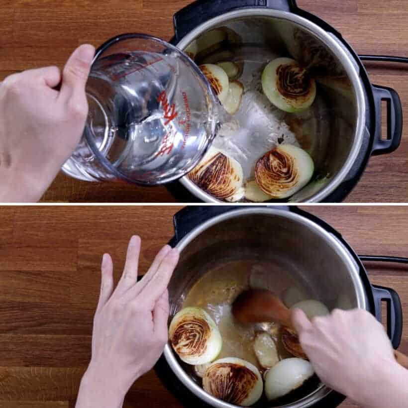 deglaze Instant Pot with wooden spoon #AmyJacky #InstantPot #PressureCooker #recipe