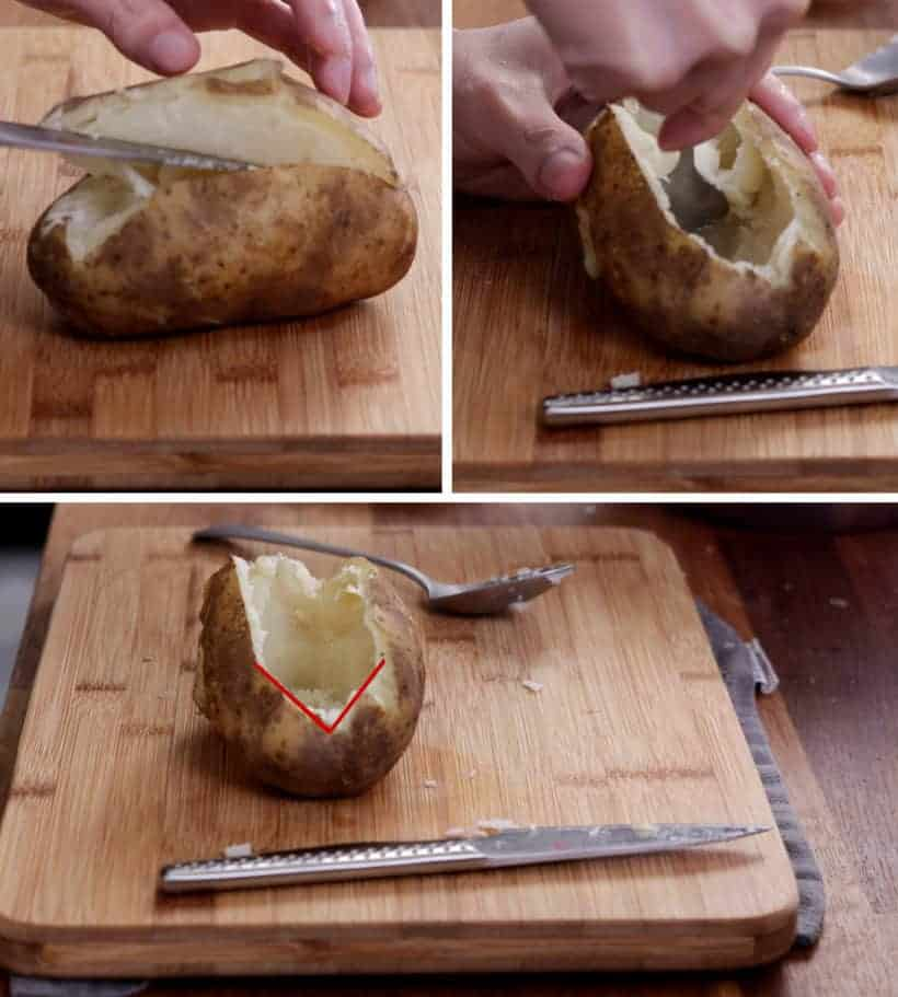 Scrape potato flesh from potato skins to make hollowed potato shells #AmyJacky #recipe