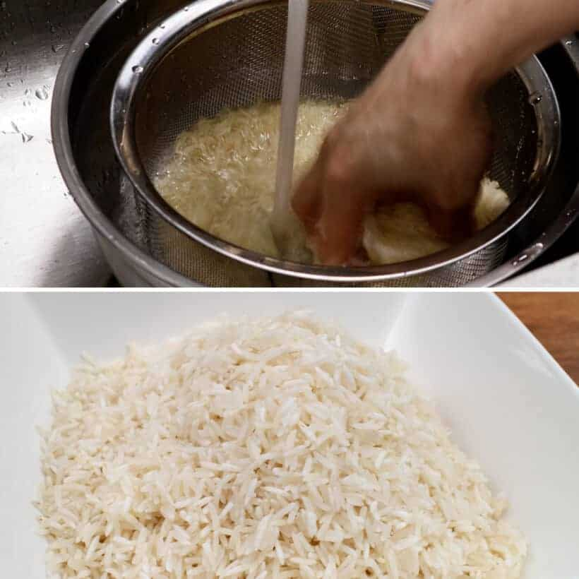 wash and drain basmati rice  #AmyJacky #InstantPot #recipe #rice