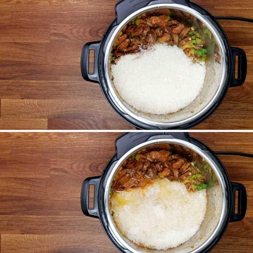 add rice to jambalaya #AmyJacky #InstantPot #PressureCooker #recipe