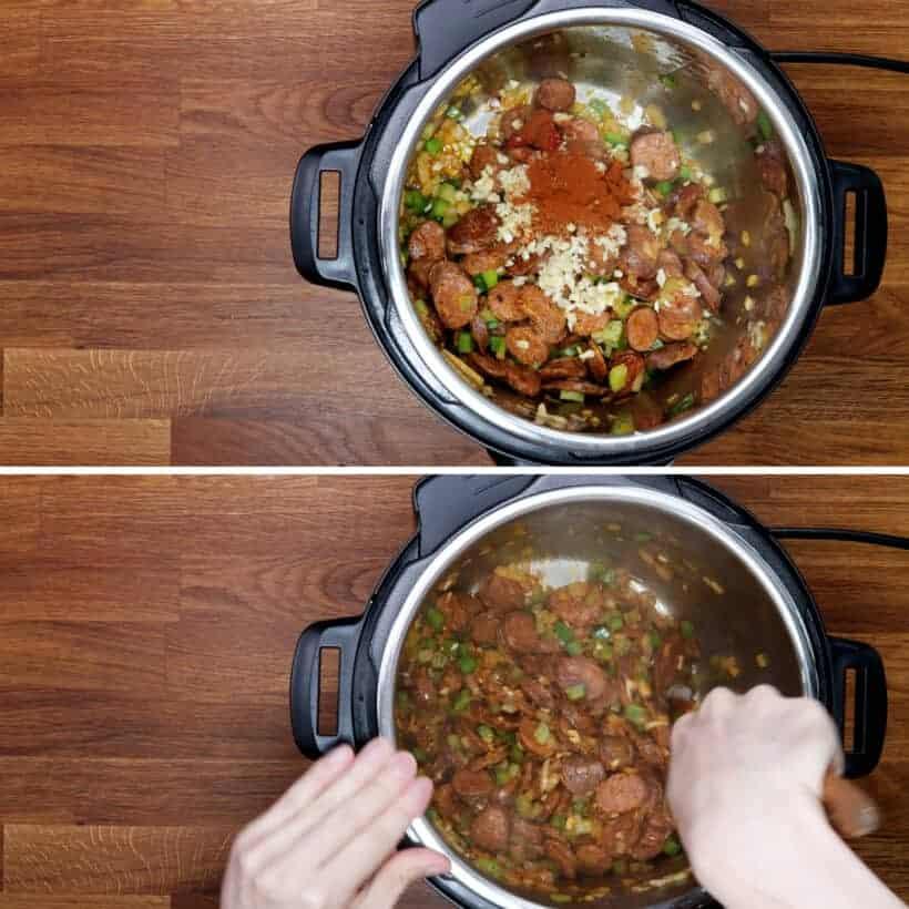 saute jambalaya spices in Instant Pot #AmyJacky #InstantPot #PressureCooker #recipe #cajun