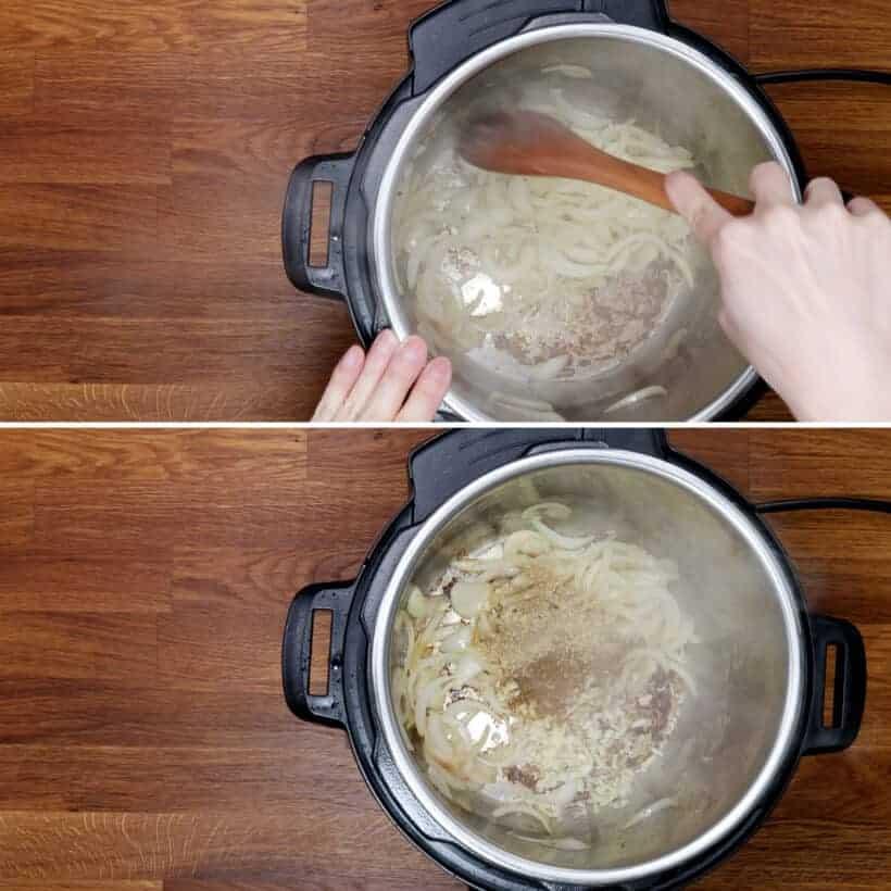 saute onions in Instant Pot #AmyJacky #InstantPot #PressureCooker #recipe