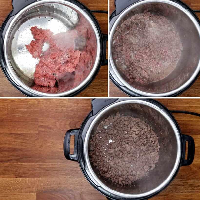brown ground beef in Instant Pot #AmyJacky #InstantPot #PressureCooker #recipe