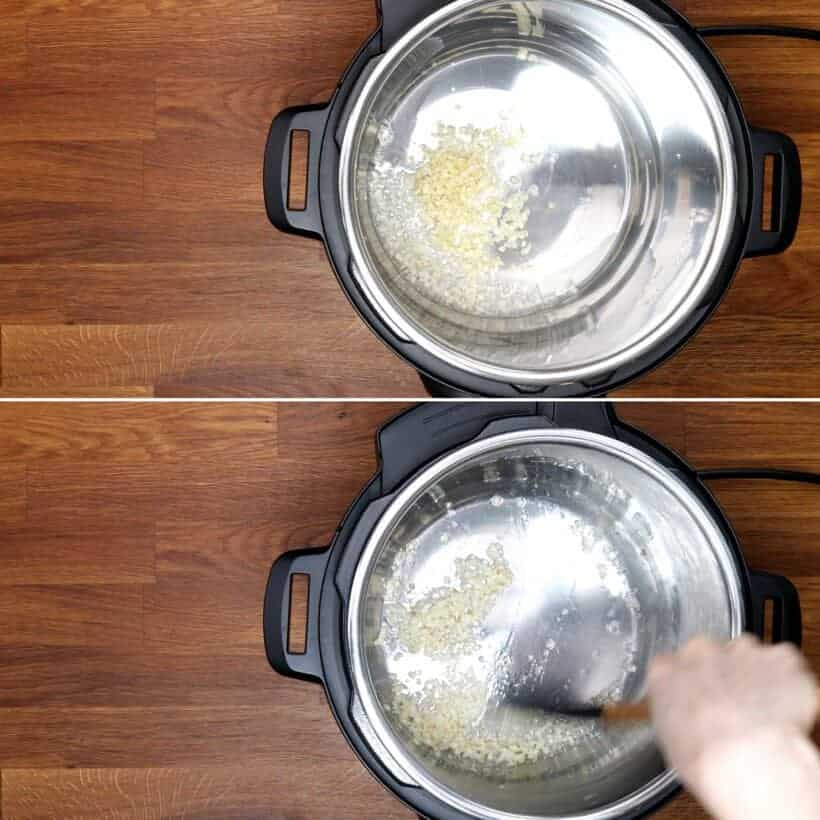 saute garlic in Instant Pot Pressure Cooker #AmyJacky #recipe