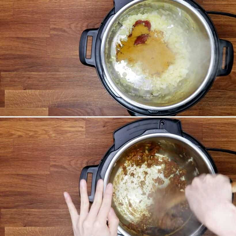 saute spices in Instant Pot #AmyJacky #InstantPot #PressureCooker #recipe
