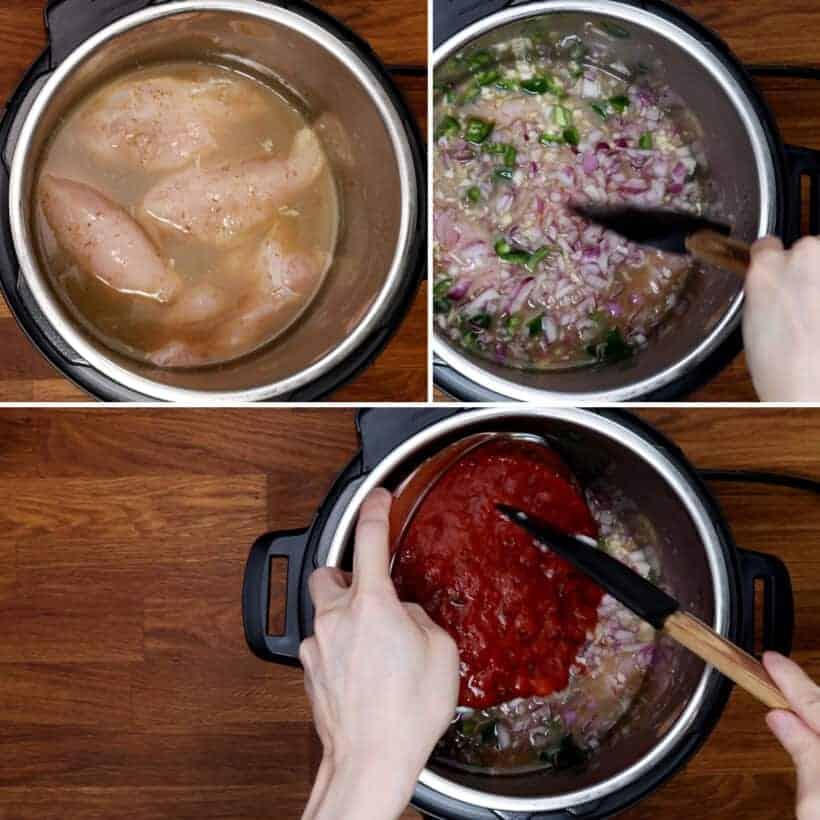 layer salsa chicken in Instant Pot  #AmyJacky #InstantPot