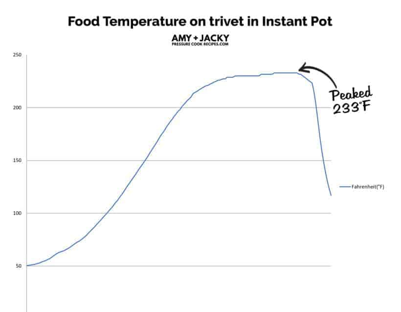 food temperature on trivet in Instant Pot