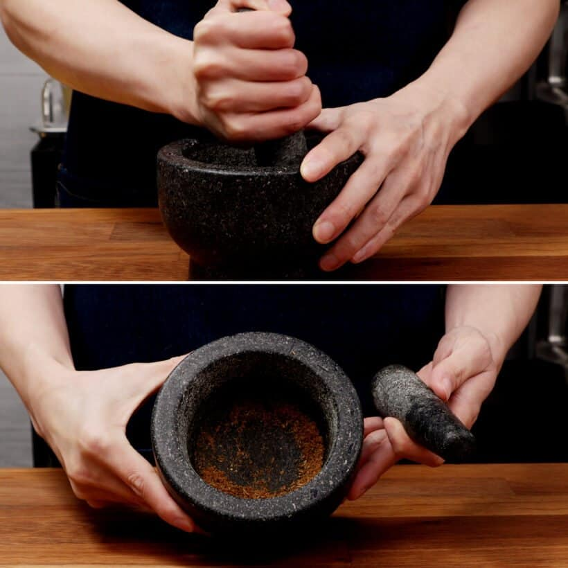 ground cumin with mortar and pestle