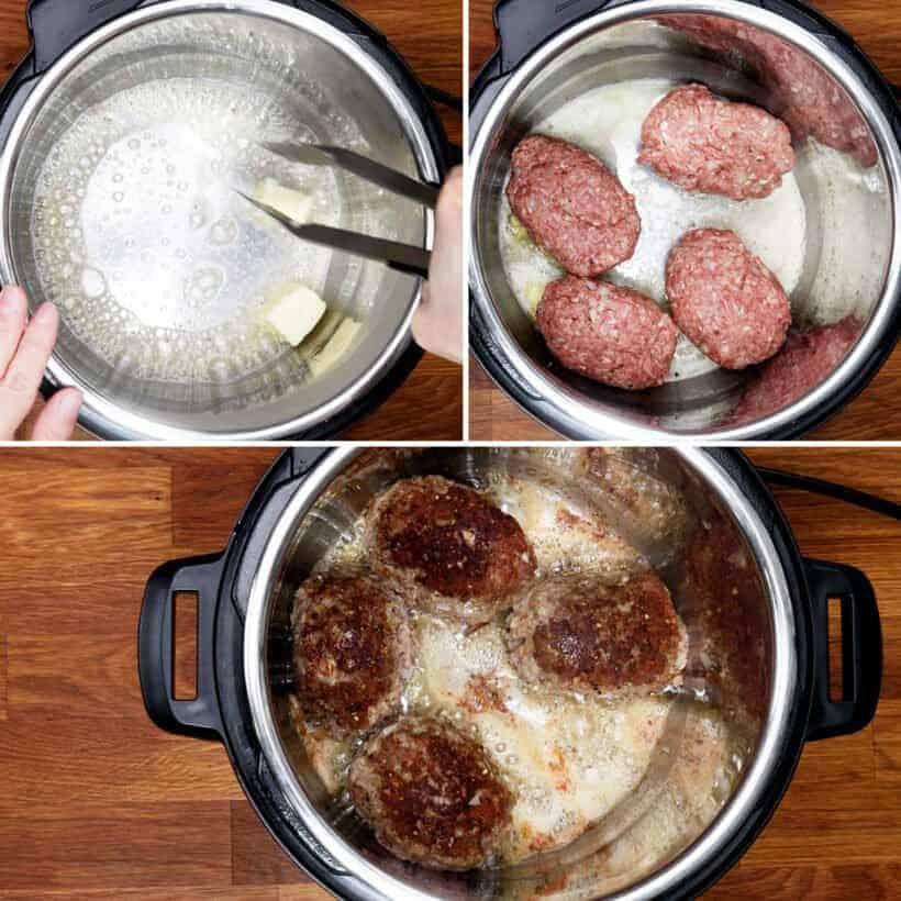 brown salisbury steak in Instant Pot