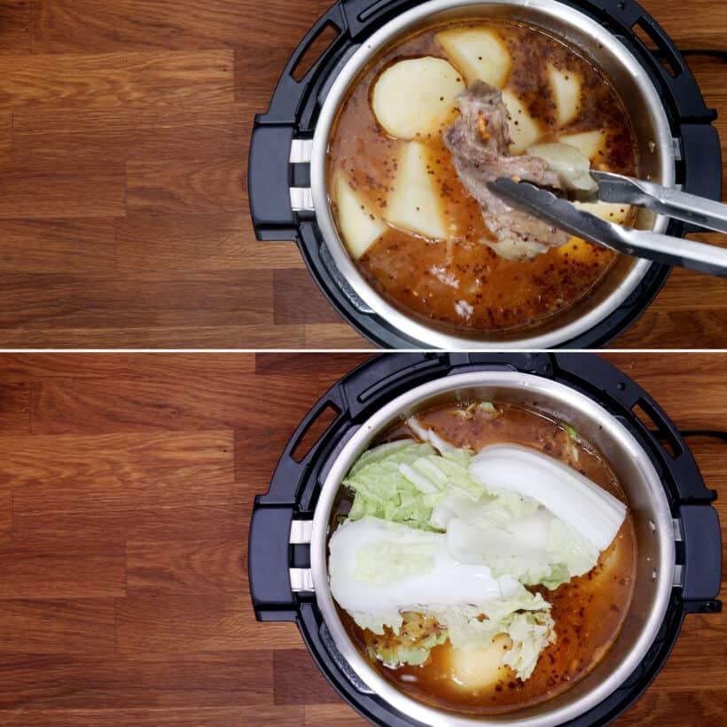 Kartoffeln Napa Kohl kochen