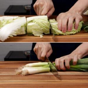 prepare napa cabbage green onions