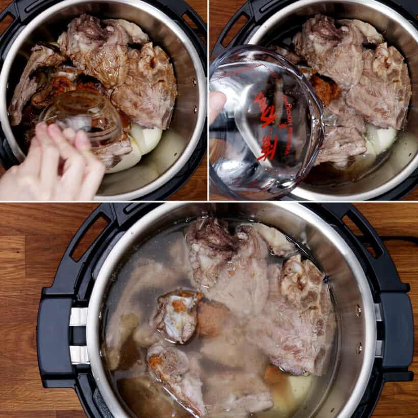 Schnellkochtopf Schweinefleisch Knochensuppe