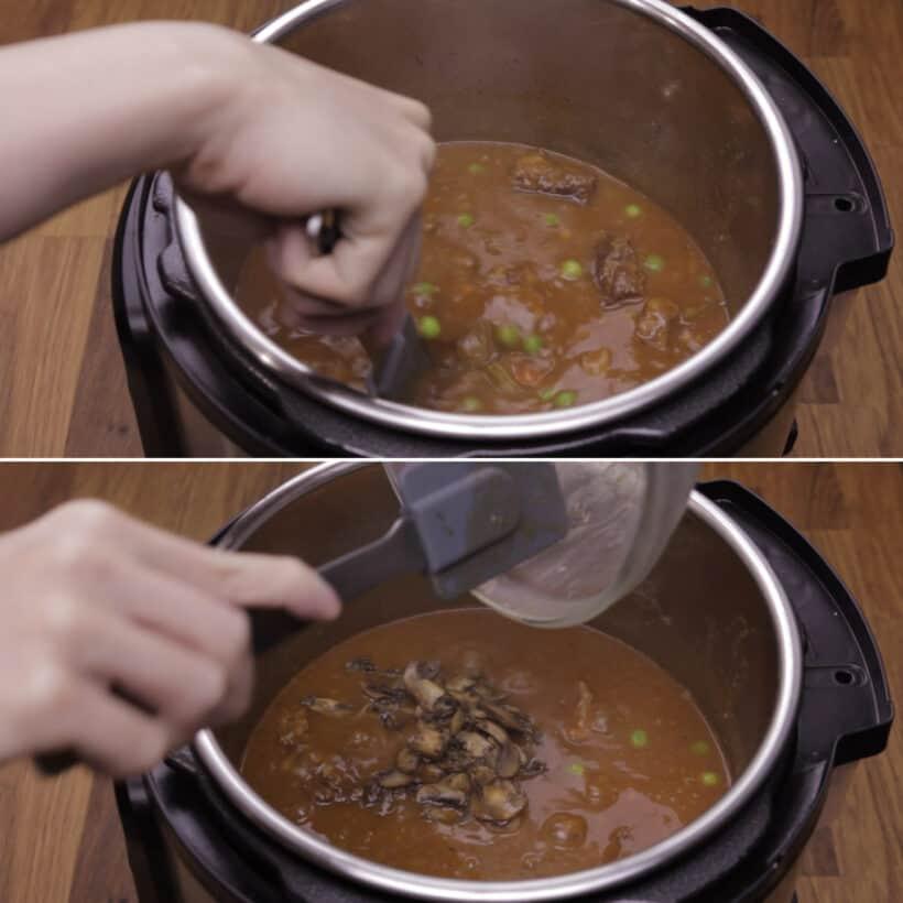 add mushrooms and peas
