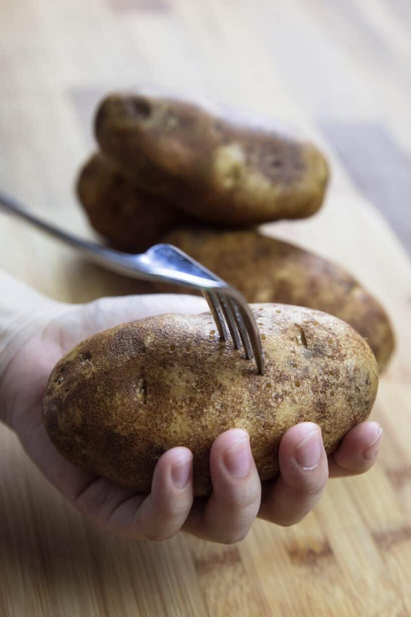 poke holes in potatoes