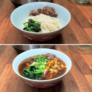 Taiwanese Beef Noodle Soup garnishes