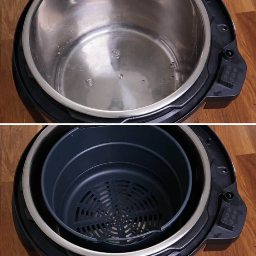 add water and steamer basket