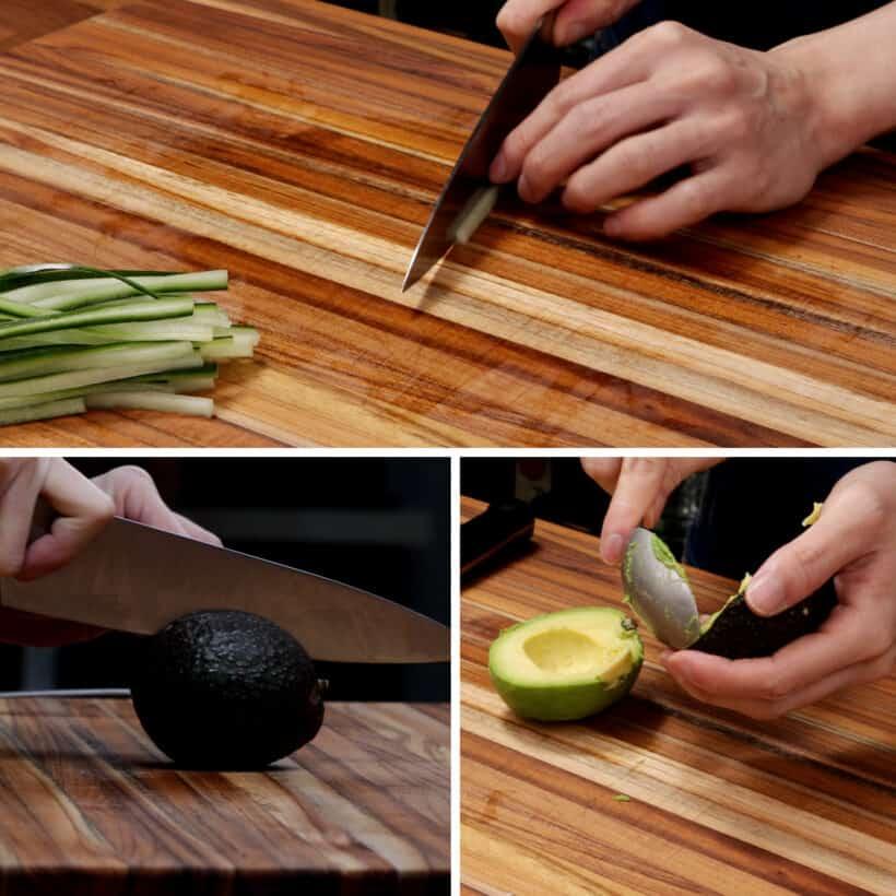 prepare avocado cucumber
