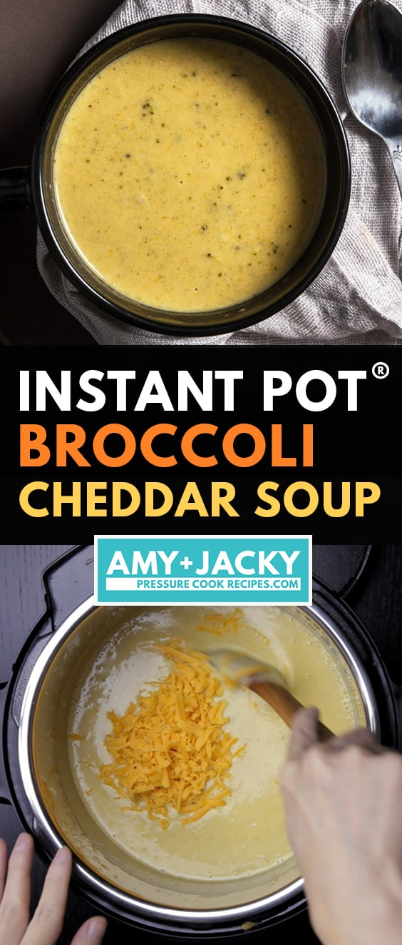 Instant Pot Broccoli Cheddar Soup is an easy Instant Pot soup recipe. Thick, creamy, rich Broccoli Cheese Soup is bursting with layers of umami flavors. Perfect with a toasted Golden Grilled Cheese!