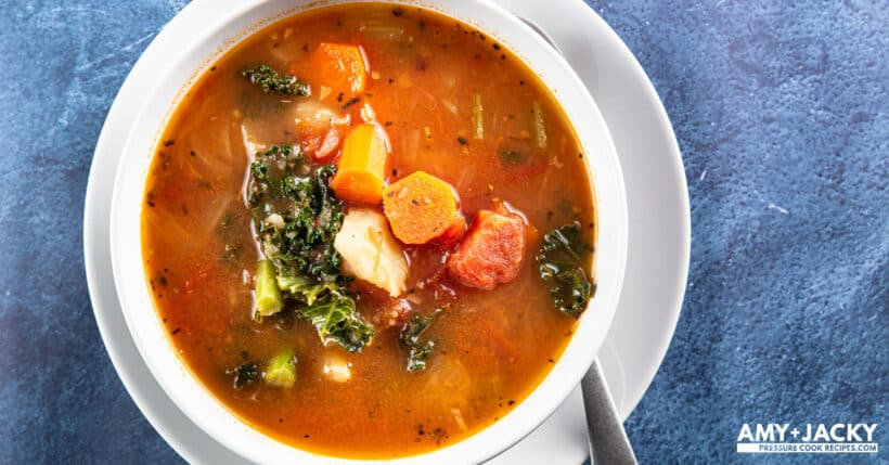 Instant Pot Vegetable Soup (Instant Pot Veggie Soup): this savory-tangy Pressure Cooker Vegetable Soup is packed with flavors, nutrients, and satisfying textures. Comforting, healthy, yet deliciously easy-to-eat, feel-good vegetarian soup.