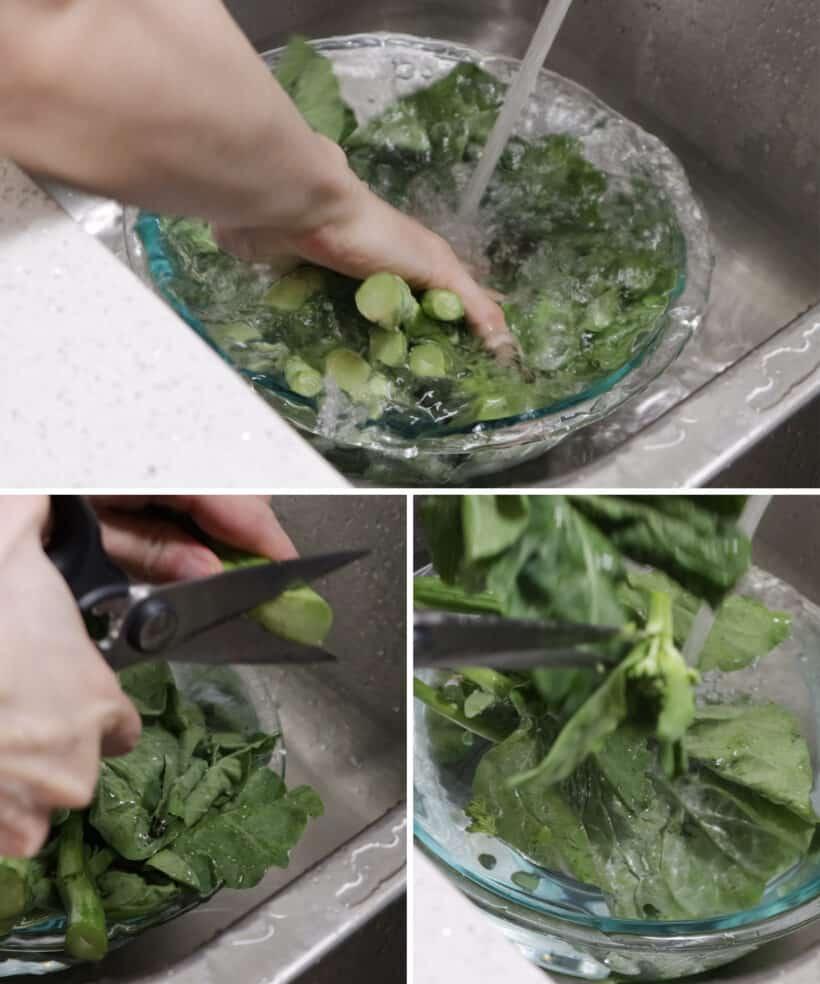 wash gai lan