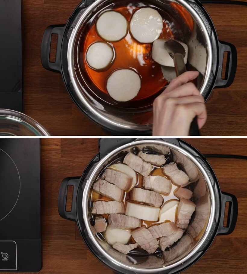 pressure cook daikon and pork belly