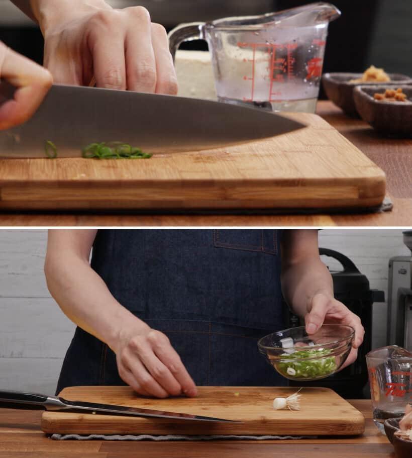 slice green onions